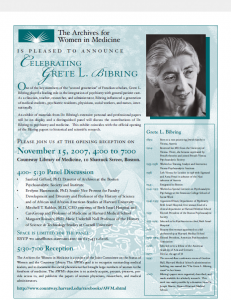 Celebrating Grete Bibring flyer