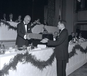 PBBH President Alan Steinert handing off 50 year Time Capsule