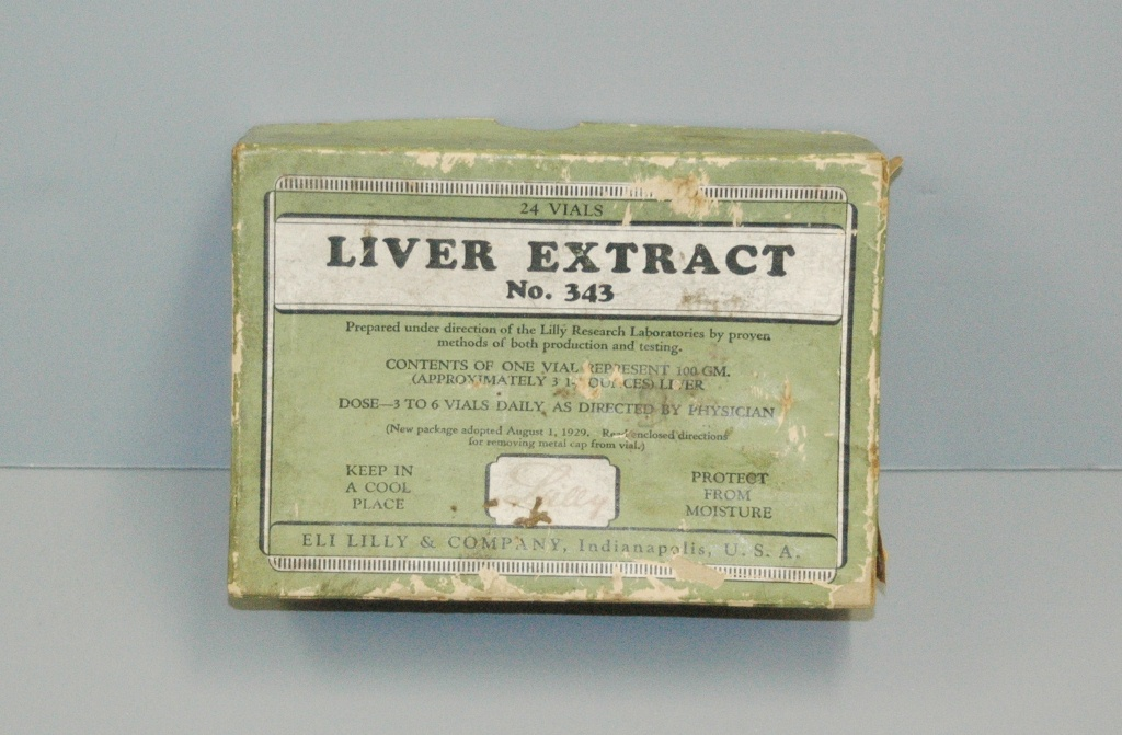 Eli Lilly box containing Liver Extract #343, dated 1929. Warren Anatomical Museum [WAM 21053], Francis A. Countway Library of Medicine