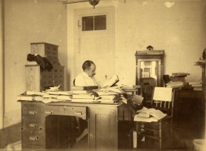 Osler at work on The Principles and Practice of Medicine, 1891. Harvard Medical Library in the Francis A. Countway Library of Medicine. #0002497.