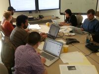 Edit-a-thon volunteers at work