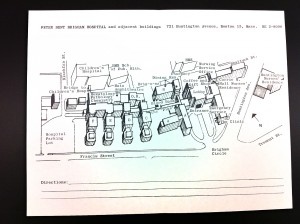 Plan of the Peter Bent Brigham Hospital campus in 1963.