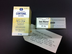 Cortone and Solumedrol. Drugs researhed at the Peter Bent Brigham Hospital in 1963.