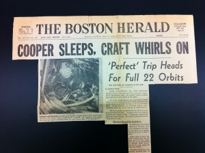 Boston Herald Headline Clipping from May 16. 1963. Gordon Cooper's Spaceflight.