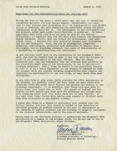 PBBH 1963 Time Capsule Letter from the Pathologist, Gustave Dammin, MD.
