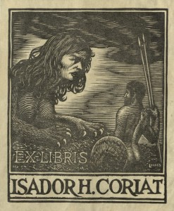 Bookplate of Isador H. Coriat, circa 1923. Boston Medical Library in the Francis A. Countway Library of Medicine.