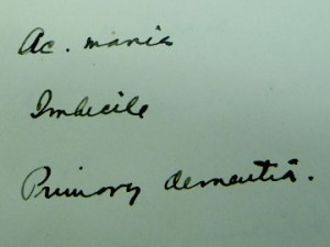 Detail of Southard's handwriting.