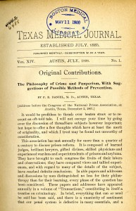 """Front page of 1898 issue of the """"Texas Medical Journal."""""""