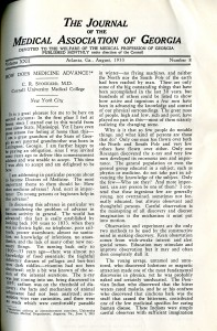 "Front page from 1933 issue of the ""Journal of the Medical Association of Georgia."""