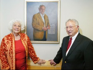 Professor Marvin Zelen stands next to his portrait with his wife, Thelma. The portrait, painted by artist Susan Stone, was presented on October 3, 2007 and hangs in the Department of Biostatics at the Harvard T.H. Chan School of Public Health. Photos Credits: Suzanne Camarata, Human Kinetics, Dan Bersak, Stanley Rowin. Image courtesy of HSPH.