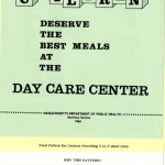 "Cover of ""Children Deserve the Best Meals at the Day Care Center"" brochure, 1964, published by the Massachusetts Department of Public Health Nutrition Section."