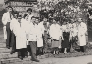 "Anne ""Nan"" Pappenheimer Forbes (front row, third from left) in a 1954 photo of the Fuller Albright endocrine lab."