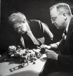 Frances Lee and Alan Moritz at work on the Nutshell Studies, 1948