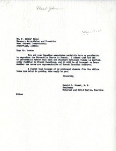 Correspondence from Harold C. Stuart to P. Conway Jones, probably May 1962, regarding translation of growth charts from the Harvard School of Public Health Longitudinal Studies of Child Health and Development.