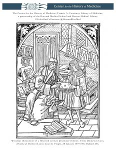 Woodcut illustration of a fifteenth century physician's library. From Dionysius Cato, Disticha de Moribus (Lyons: Jean de Vingle, 28 January 1497/98). Ballard 256.