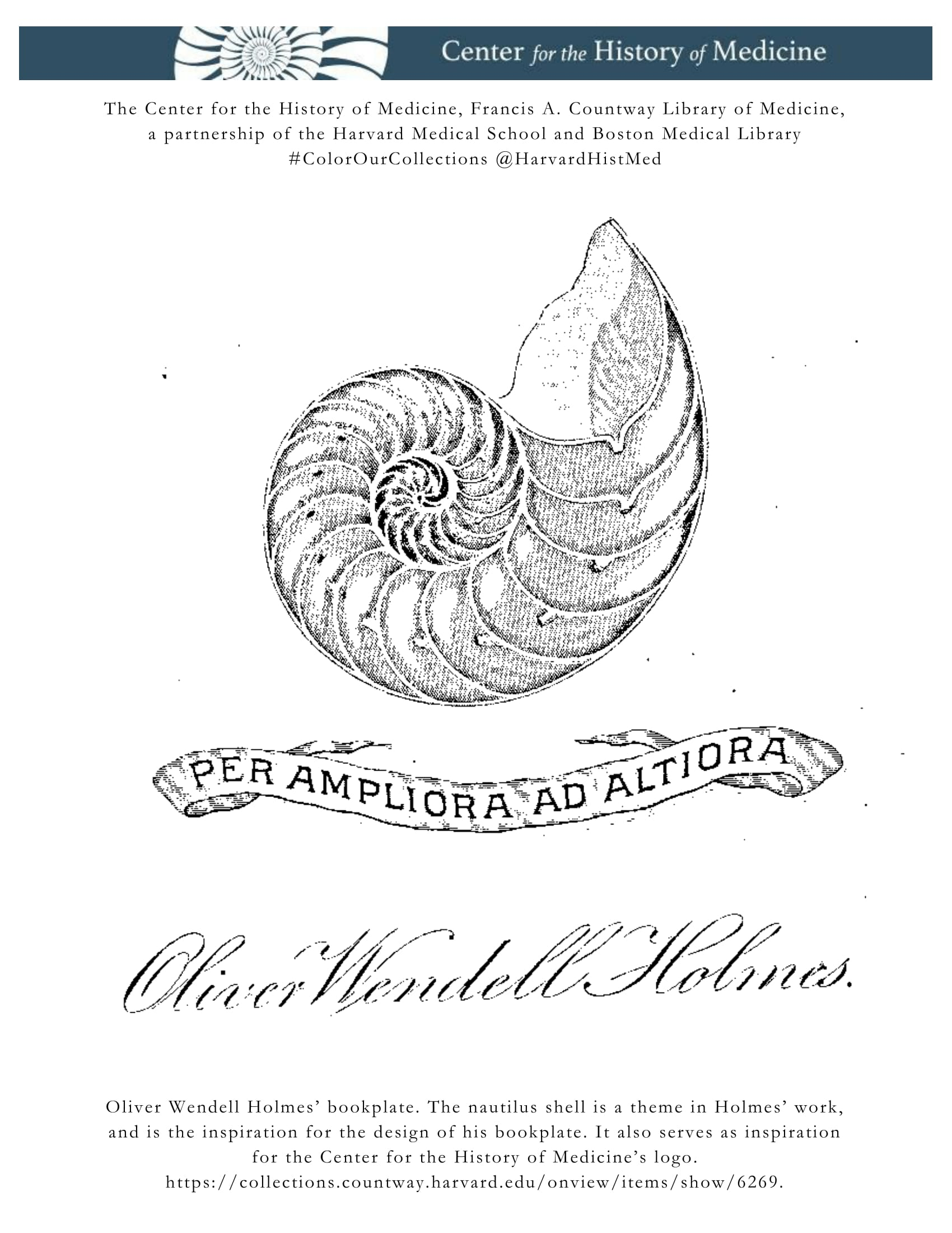 oliver wendell holmes bookplate the nautilus shell is a theme in holmes work