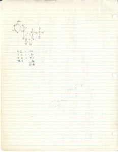 Data from Zamecnik's research into ribosomal structures, which led to the discovery of transfer RNA (back of page)