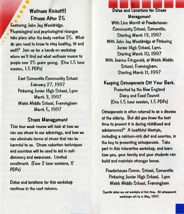 """Planet Health Spring 1997 Wellness Series"" brochure."