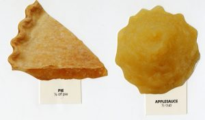Apple pie and applesauce food models. According to the models, apple pie has 327mg of sodium; applesauce has 4mg.