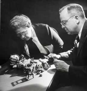 Frances Glessner Lee and Alan R. Moritz working with furnishings for the Nutshell Studies, 1948. Records of the Department of Legal Medicine, Harvard Medical Library