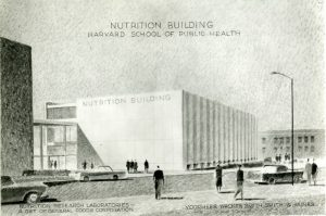 Harvard School of Public Health Nutrition Building architectural drawing, circa 1960. By Voorhees, Walker, Smith, Smith, and Haines.