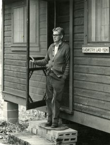 Fredrick J. Stare during a conference at Trout Lake, Wisconsin, visiting the chemistry laboratory at which he worked during the summers of 1929-1931. 1983 May 18.