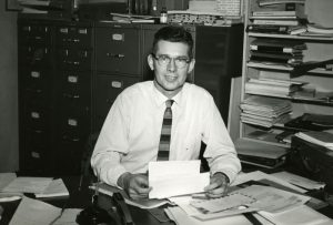 Fredrick J. Stare at desk, undated.