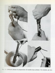 "Phases in preparation of double-loop catheter. Page 19 of Sven Paulin's ""Coronary Angiography: A technical, anatomic and clinical study."" H MS c433. From the Harvard Medical Library in the Francis A. Countway Library of Medicine."
