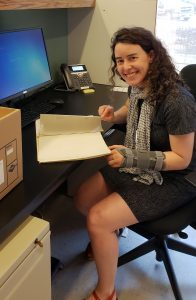 Charlotte Lellman, Simmons Processing Intern (Spring 2018). Charlotte processed the Elinor Kamath papers.
