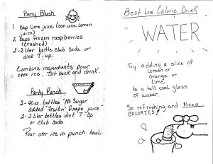 "Pages from ""Non-Alcoholic Beverage Recipes"" showing recipes for ""Berry Blush,"" ""Party Punch,"" and Water."