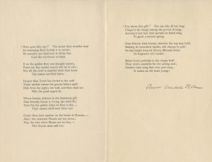 "Scan of two pages that display the poem, ""To The Eleven Ladies"" by Oliver Wendell Holmes. Holmes' signature is underneath the printed poem."